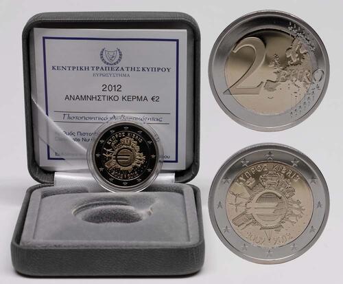 Lieferumfang:Zypern : 2 Euro 10 Jahre Euro Bargeld  2012 PP