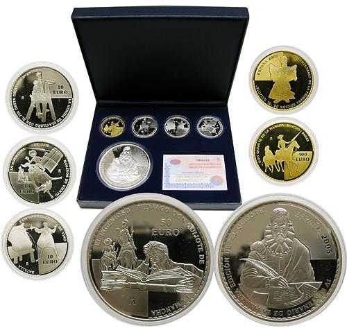 Lieferumfang:Spanien : 480 Euro Komplettsatz Gold (1 x 400 Euro Sancho Pansa) + Silber (3x 10 Euro + 1x 50 Euro), inkl. Originaletui und Zertifikat  2005 PP