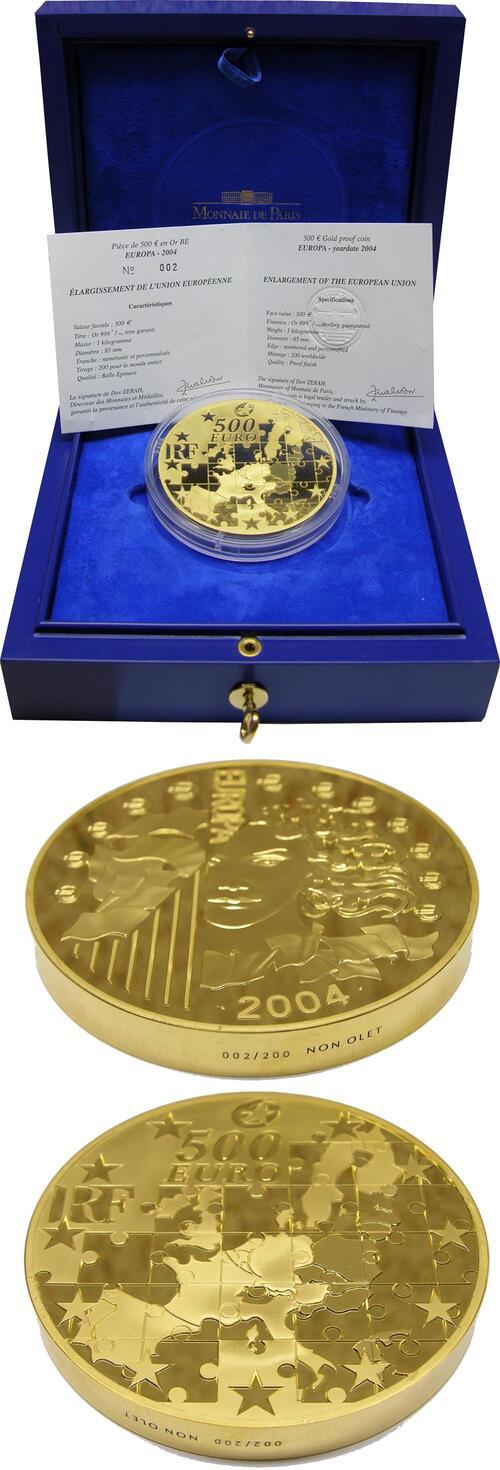 Lieferumfang:Frankreich : 500 Euro Europa-Münze, incl. Originaletui und Zertifikat - 1 Kg Gold ! - Gravur auf dem Rand NON OLET  2004 PP