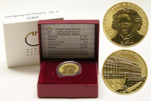 Lieferumfang:Österreich : 50 Euro Ludwig van Beethoven  2005 Stgl.