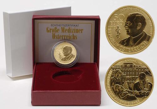 Lieferumfang:Österreich : 50 Euro Clemens von Pirquet  2010 PP 50 Euro Pirquet