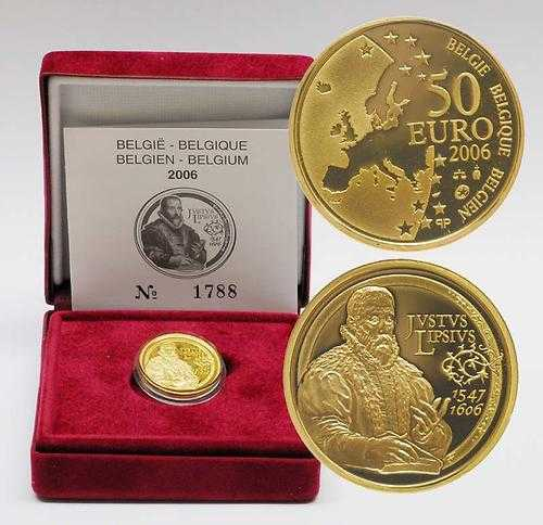 Lieferumfang:Belgien : 50 Euro Lipsius inkl. Originaletui und Zertifikat  2006 PP 50 Euro Lipsius ; Europastern