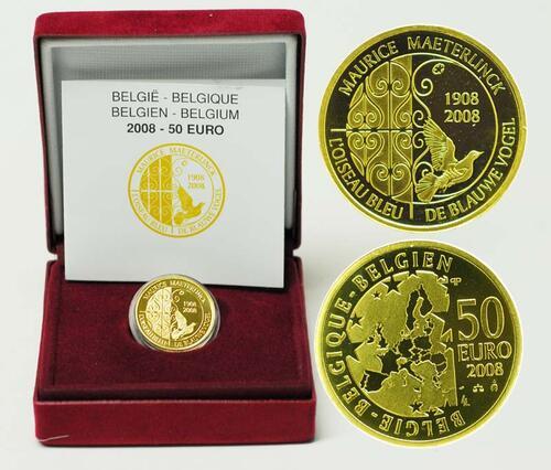 Lieferumfang:Belgien : 50 Euro Maeterlinck - Der Blaue Vogel inkl. Originaletui und Zertifikat  2008 PP 50 Euro Blauer Vogel