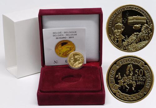 Lieferumfang:Belgien : 50 Euro Auguste Piccard / Bathyskaphs - Tiefsee-U-Boot  2011 PP