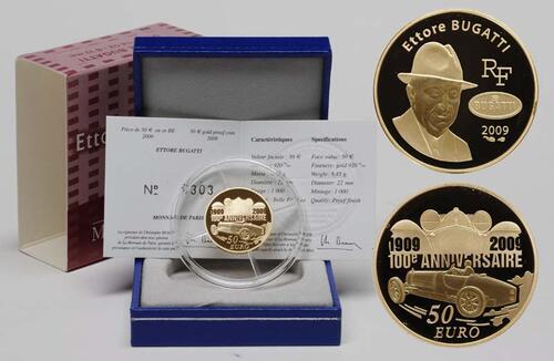 Lieferumfang:Frankreich : 50 Euro Ettore Bugatti inkl. Originaletui und Zertifikat  2009 PP 50 Euro Bugatti