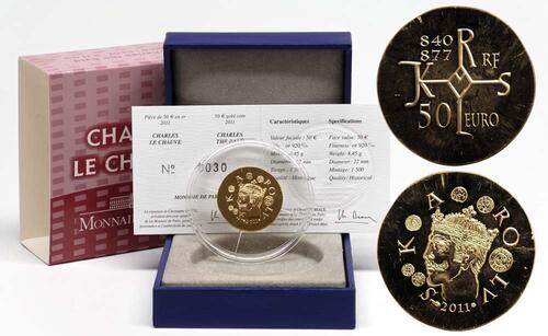 Lieferumfang:Frankreich : 50 Euro Karl der Kahle  2011 Stgl.