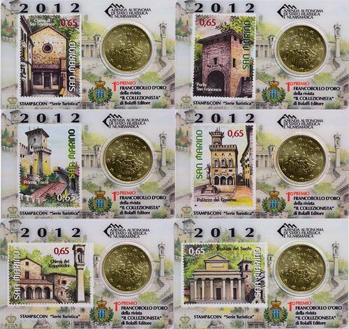 Lieferumfang:San Marino : 50 Cent Set: 6x50 Cent + 65ct Briefmarke  2012 Stgl.