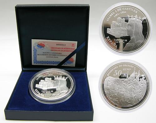 Lieferumfang:Spanien : 50 Euro Isabel I. inkl. Originaletui und Zertifikat  2004 PP