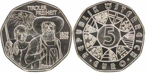 Lieferumfang:Österreich : 5 Euro Tiroler Freiheit  2009 Stgl.