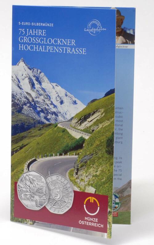 Lieferumfang:Österreich : 5 Euro 75 Jahre Großglockner Hochalpenstraße im Originalblister  2010 Stgl. 5 Euro Großglockner 2010