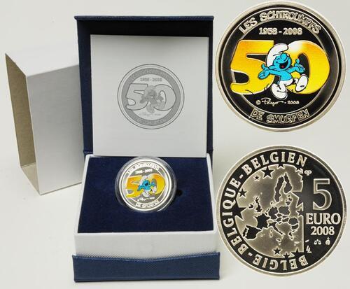 Lieferumfang:Belgien : 5 Euro Die Schlümpfe farbig inkl. Originaletui und Zertifikat  2008 PP 5 Euro Schlümpfe in Farbe 2008
