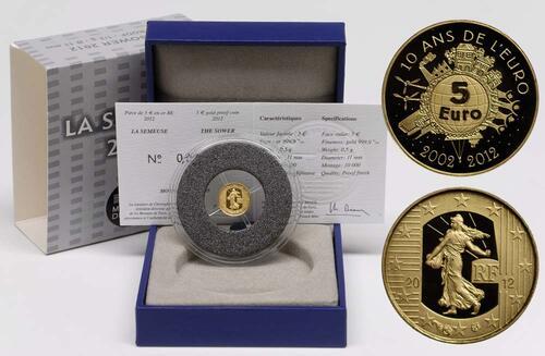 Lieferumfang:Frankreich : 5 Euro 10 Jahre Euro Bargeld  2012 PP