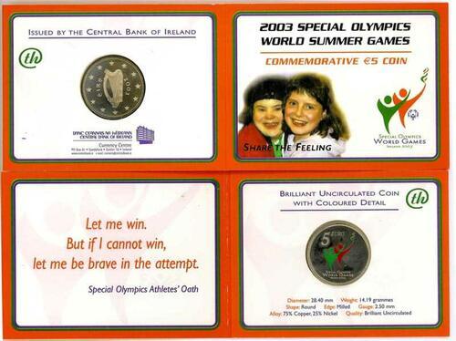 Lieferumfang:Irland : 5 Euro Special Olympics im Originalblister  2003 bfr