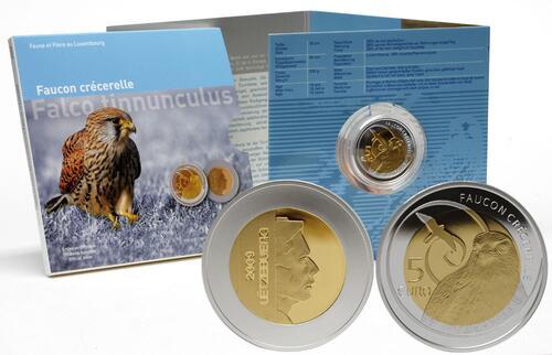 Lieferumfang:Luxemburg : 5 Euro Turmfalke im Originalblister  2009 PP