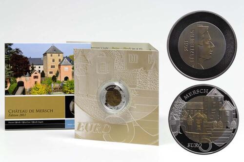 Lieferumfang:Luxemburg : 5 Euro Burg Mersch  2011 PP NIOB