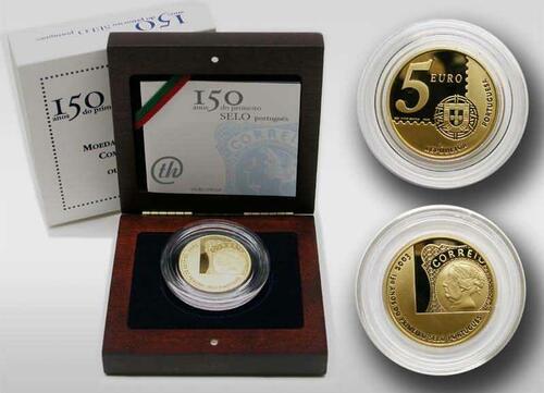 Lieferumfang:Portugal : 5 Euro 150 Jahre Briefmarke  2003 PP