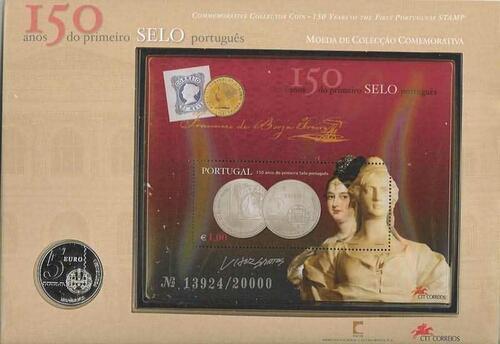 Lieferumfang:Portugal : 5 Euro 150 Jahre Briefmarke - original verpackt als Numisbrief  2003 Stgl.