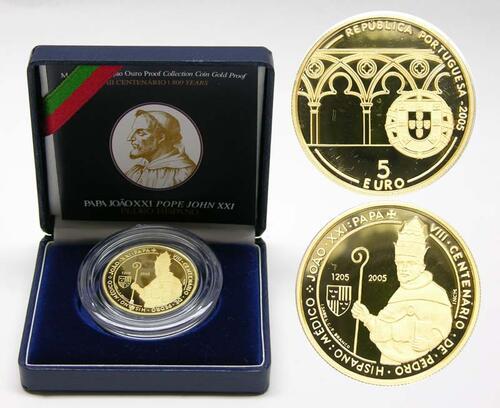 Lieferumfang:Portugal : 5 Euro Papst Johannes XXI - Petrus Hispanus  2005 PP 5 Euro Portugal 2005 Gold