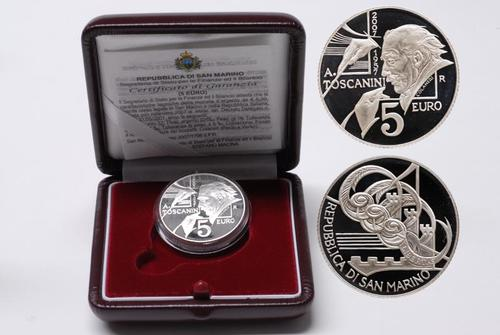 Lieferumfang:San Marino : 5 Euro 50. Todestag von Arturo Toscanini  2007 PP