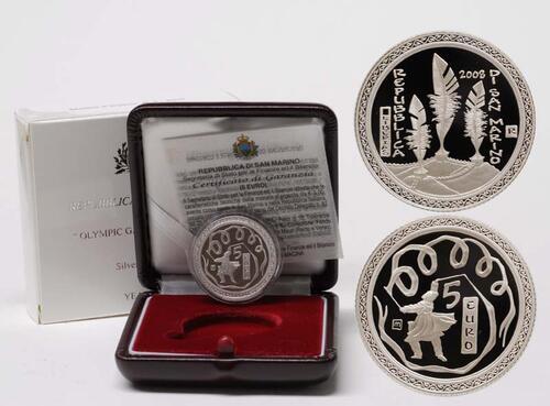 Lieferumfang:San Marino : 5 Euro Olympiade Peking  2008 PP