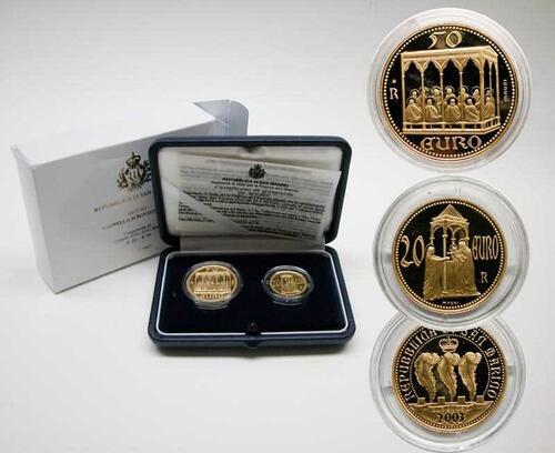 """Lieferumfang:San Marino : 70 Euro Set: 20 Euro """"Präsentation Jesuskind im Tempel"""" + 50 Euro """"Pfingsten / Pentecoste""""  inkl. Originaletuis und Zertifikaten  2003 PP"""