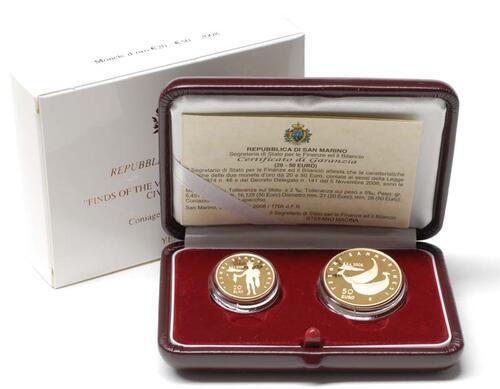 Lieferumfang:San Marino : 70 Euro Set aus 20 + 50 Euro Villanovakultur inkl. Originaletui und Zertifikat  2008 PP 20 + 50 Euro San Marino 2008 Gold