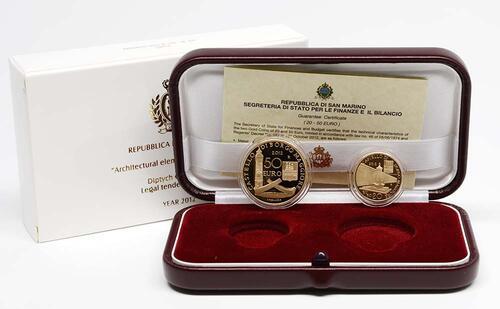 Lieferumfang:San Marino : 70 Euro Set aus 20+50 Euro Architektonische Elemente San Marinos  2012 PP