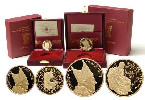 Lieferumfang:Vatikan : 70 Euro Set: 20 + 50 Euro Meisterwerke der Bildhauerkunst inkl. Originaletui und Zertifikat  2008 PP 20+50 Euro Vatikan 2008