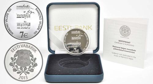 Lieferumfang:Estland : 7 Euro Raimond Valgre  2013 PP