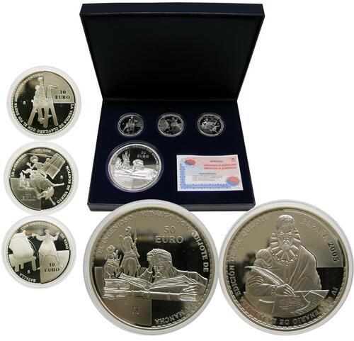 Lieferumfang:Spanien : 80 Euro Silber-Set : 3x10 Euro + 1x50 Euro, inkl. Originaletui und Zertifikat  2005 PP