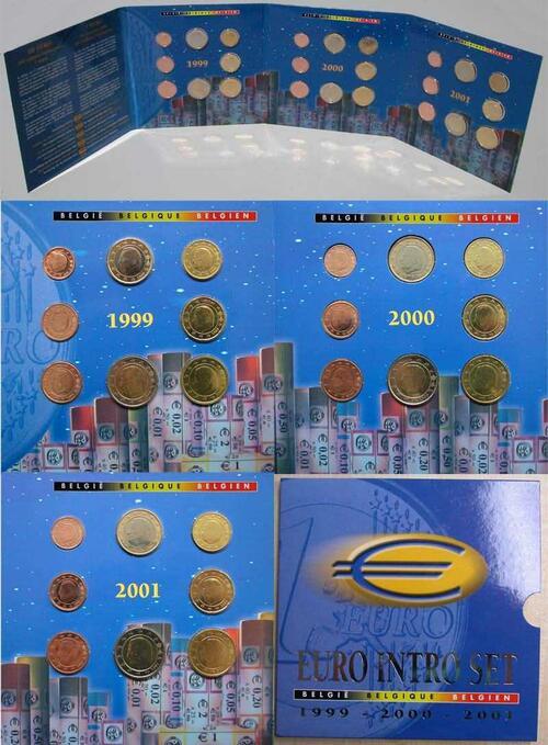 Lieferumfang:Belgien : 11,64 Euro original Kursmünzensatz (Intro-Satz) der belgischen Münze als komplettes Set der Jahre 1999-2001  2001 bfr