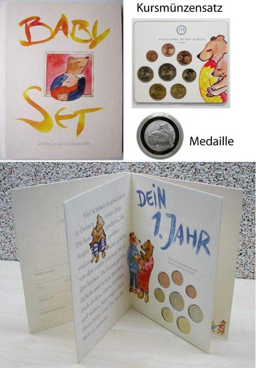 Lieferumfang:Deutschland : 3,88 Euro Baby-Münzsatz der Staatlichen Münze Berlin, original verpackt - mit Medaille und KMS 2002  2002 bfr