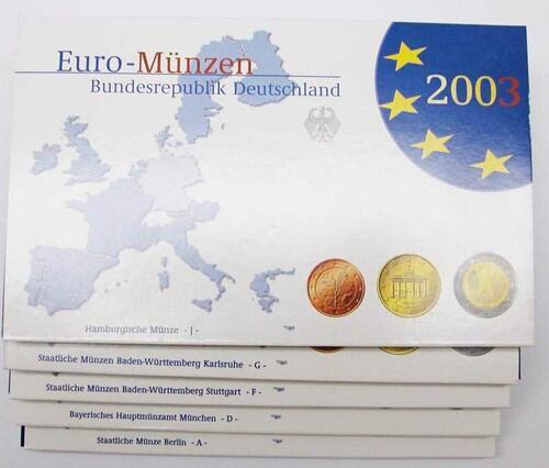"""Lieferumfang:Deutschland : 19,4 Euro kompletter Satz in Originalverpackung """"Bad Homburg""""  2003 PP"""