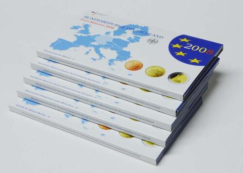 """Lieferumfang:Deutschland : 29,4 Euro KMS Deutschland mit zusätzlicher 5 x 2 Euro Gedenkmünze """"Hamburger Michel""""  2008 PP KMS Deutschland 2008 PP"""