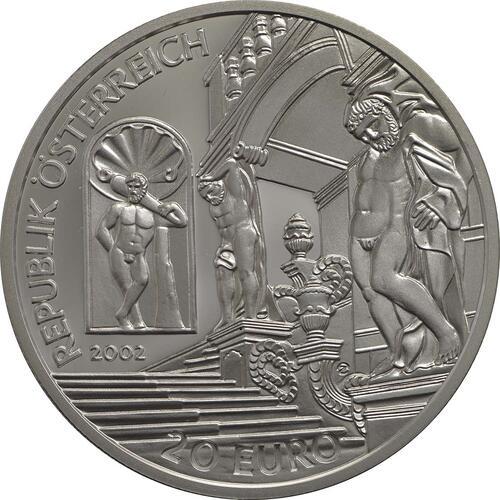 Rückseite:Österreich : 20 Euro Barockzeit / Prinz Eugen  2002 PP