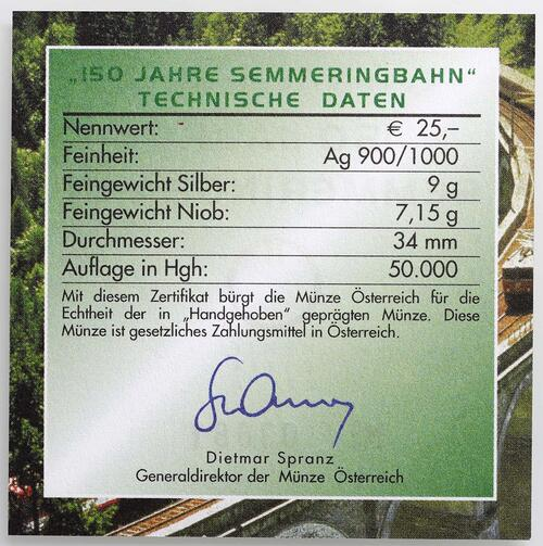 Zertifikat:Österreich : 25 Euro Semmeringbahn  2004 Stgl.