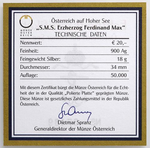 Zertifikat:Österreich : 20 Euro SMS. Ferdinand Max  2004 PP