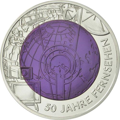 Vorderseite:Österreich : 25 Euro 50 Jahre TV / Fernsehen  2005 Stgl. 25 Euro Fernsehen 2005 PP NIOB