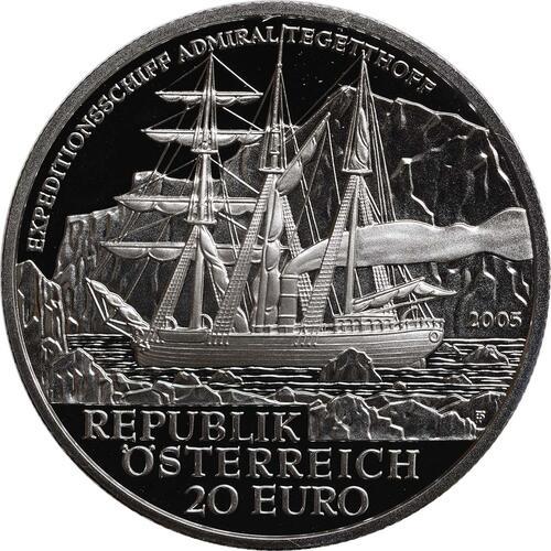 Rückseite:Österreich : 20 Euro Polarexpedition Tegetthoff  2005 PP