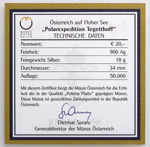 Zertifikat:Österreich : 20 Euro Polarexpedition Tegetthoff  2005 PP