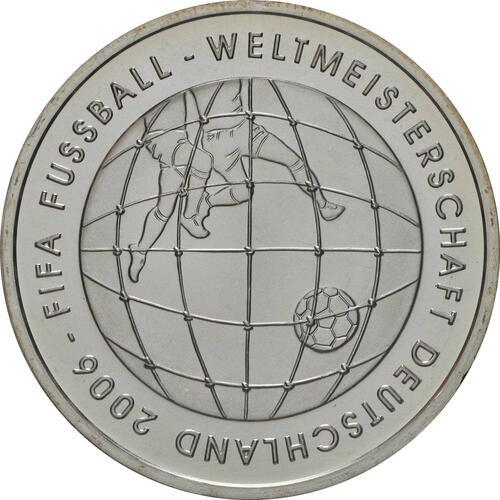 Vorderseite:Deutschland : 10 Euro III. Ausgabe FIFA Fußball WM Deutschland  2006 Buchstabe unserer Wahl  2005 bfr