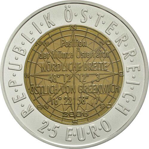 Rückseite:Österreich : 25 Euro Europäische Satellitennavigation  2006 Stgl. Österreich NIOB 2006;25 Euro Satellitennavigation