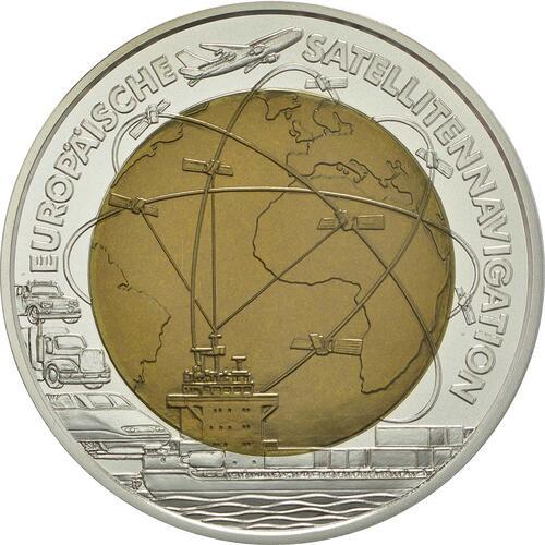 Vorderseite:Österreich : 25 Euro Europäische Satellitennavigation  2006 Stgl. Österreich NIOB 2006;25 Euro Satellitennavigation