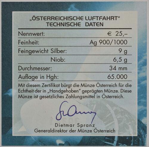 Zertifikat:Österreich : 25 Euro Luftfahrt in Österreich Niob - Münze  2007 Stgl. 25 Euro Niob 2007; Niob - Münze
