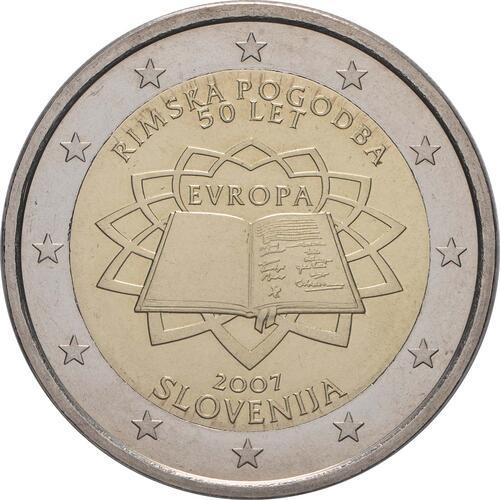 Rückseite:Slowenien : 2 Euro Römische Verträge  2007 bfr 2 Euro rimska-pogodoba; 2 Euro Slowenien 2007