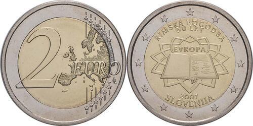 Lieferumfang:Slowenien : 2 Euro Römische Verträge  2007 bfr 2 Euro rimska-pogodoba; 2 Euro Slowenien 2007