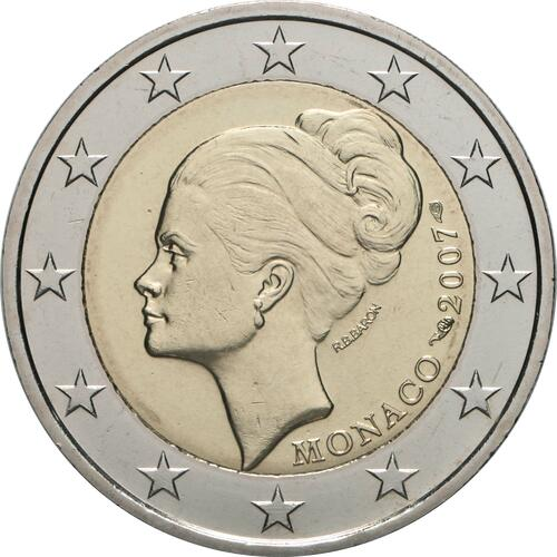 Rückseite:Monaco : 2 Euro Gracia Patrizia / Grace Kelly  2007 bfr 2 Euro Monaco 2007