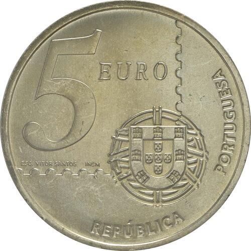 Rückseite:Portugal : 5 Euro 150 Jahre Briefmarke  2003 Stgl.