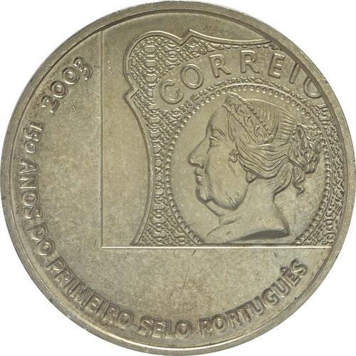 Vorderseite:Portugal : 5 Euro 150 Jahre Briefmarke  2003 Stgl.