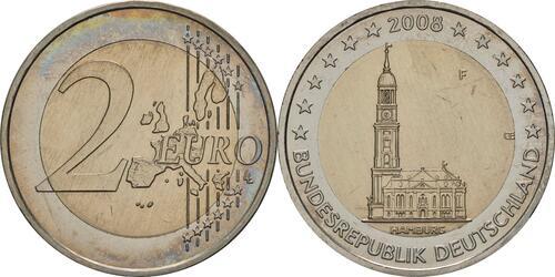 Lieferumfang:Deutschland : 2 Euro Hamburger Michel - Variante mit alter Wertseite  2008 Stgl.